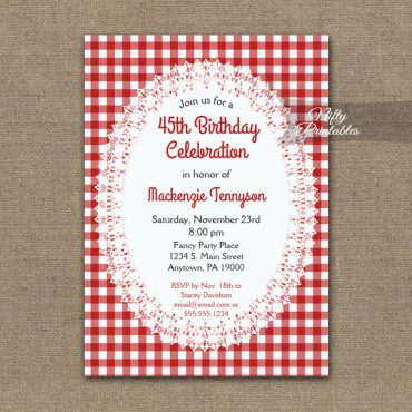 Birthday Invitation Rustic Country Casual Red White PRINTED