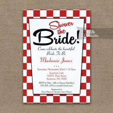 Bridal Shower Invitation 50s Retro Red White PRINTED