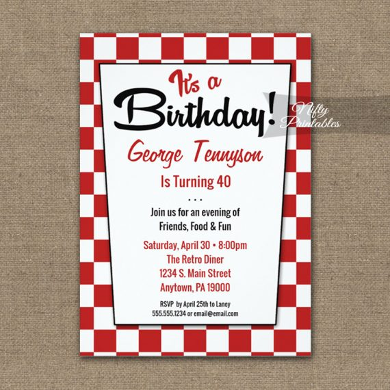 Birthday Invitation 50s Retro Red White PRINTED