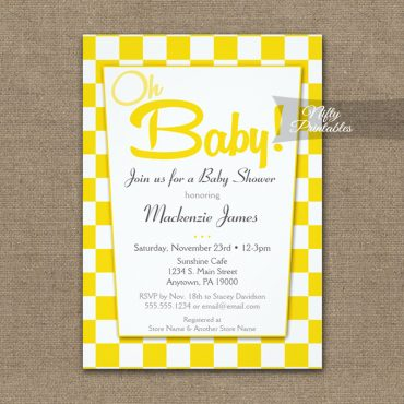 Baby Shower Invitation 50s Retro Red White PRINTED