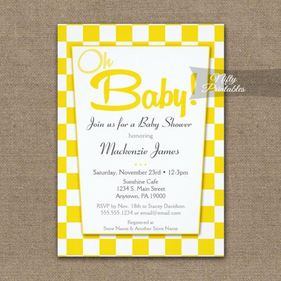 Baby Shower Invitation 50s Retro Red White PRINTED