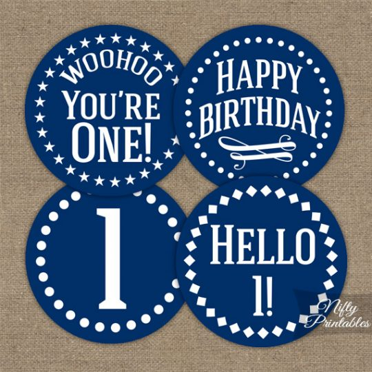 1st Birthday Cupcake Toppers - Navy Blue White Impact