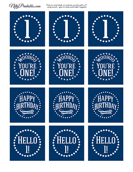 1st Birthday Toppers - Navy Blue Cupcake Toppers