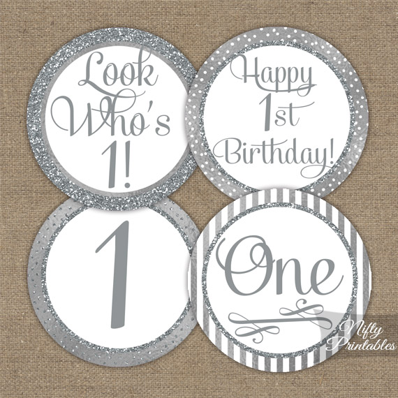 1st Birthday Toppers - Silver Cupcake Toppers