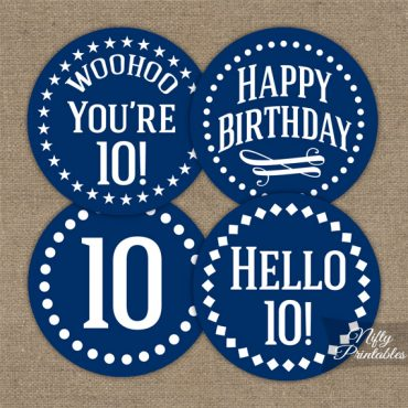10th Birthday Cupcake Toppers - Navy Blue White Impact