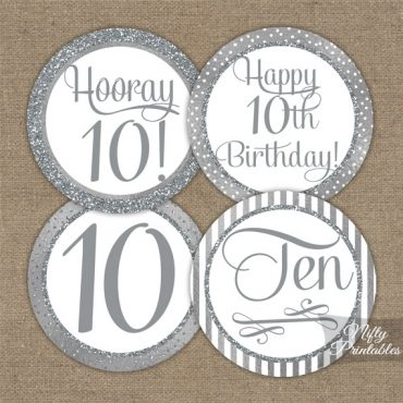 10th Birthday Toppers - Silver Cupcake Toppers