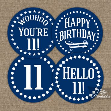 11th Birthday Cupcake Toppers - Navy Blue White Impact