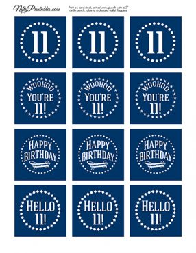 11th Birthday Toppers - Navy Blue Cupcake Toppers
