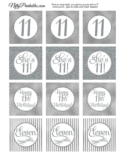 11th Birthday Toppers - Silver Cupcake Toppers