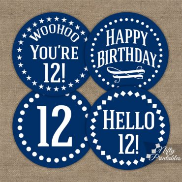 12th Birthday Cupcake Toppers - Navy Blue White Impact