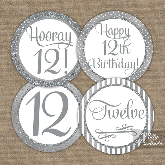 12th Birthday Toppers - Silver Cupcake Toppers