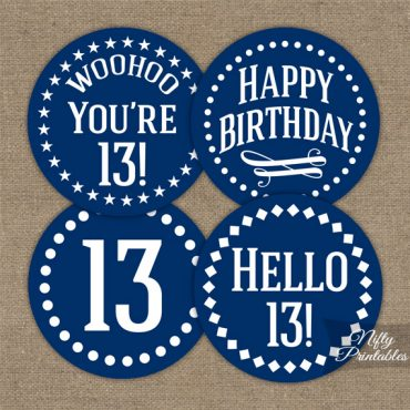 13th Birthday Toppers - Navy Blue Cupcake Toppers