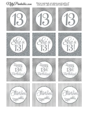 13th Birthday Toppers - Silver Cupcake Toppers