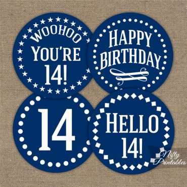 14th Birthday Cupcake Toppers - Navy Blue White Impact