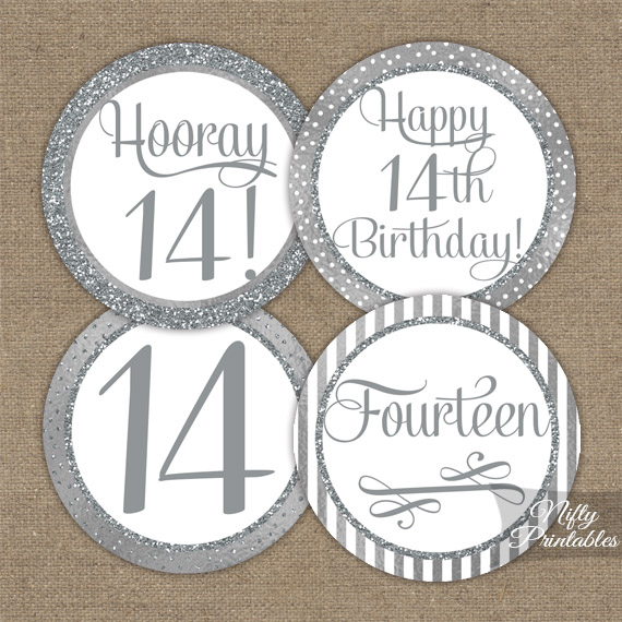 14th Birthday Toppers - Silver Cupcake Toppers