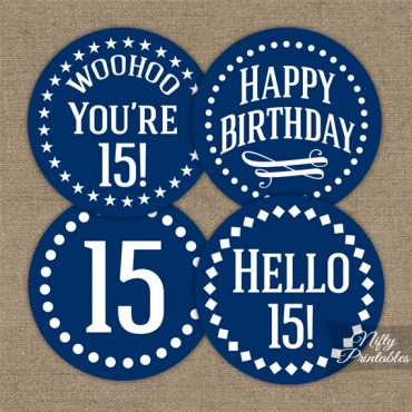 15th Birthday Cupcake Toppers - Navy Blue White Impact