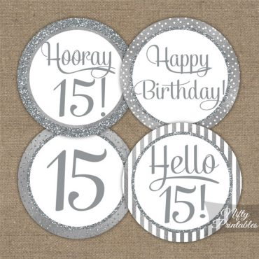 15th Birthday Toppers - Silver Cupcake Toppers