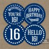 16th Birthday Toppers - Navy Blue Cupcake Toppers