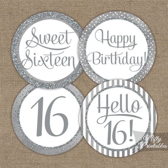 16th Birthday Toppers - Silver Cupcake Toppers