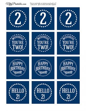 2nd Birthday Toppers - Navy Blue Cupcake Toppers