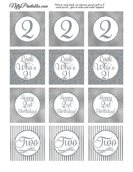 2nd Birthday Toppers - Silver Cupcake Toppers