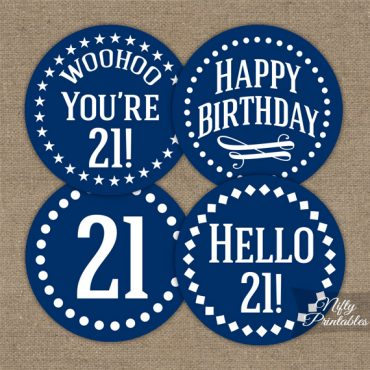 21st Birthday Cupcake Toppers - Navy Blue White Impact