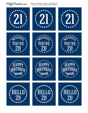 21st Birthday Toppers - Navy Blue Cupcake Toppers