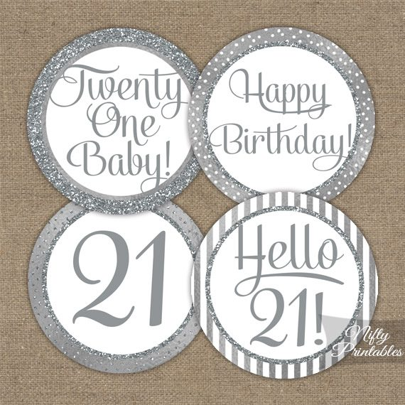 21st Birthday Toppers - Silver Cupcake Toppers