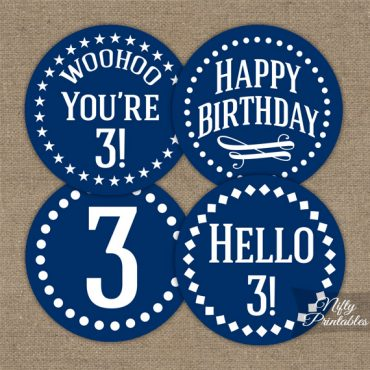 3rd Birthday Cupcake Toppers - Navy Blue White Impact