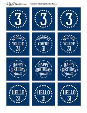 3rd Birthday Toppers - Navy Blue Cupcake Toppers