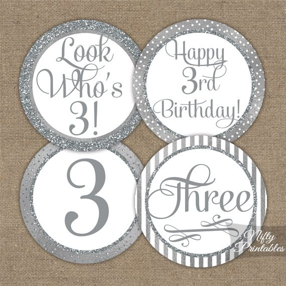 3rd Birthday Toppers - Silver Cupcake Toppers