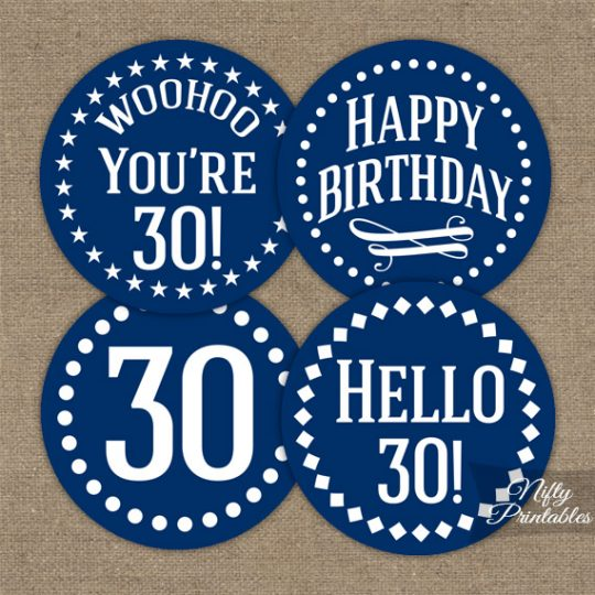 30th Birthday Cupcake Toppers - Navy Blue White Impact