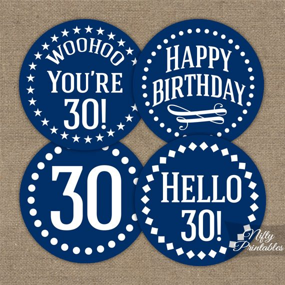 30th Birthday Toppers - Navy Blue Cupcake Toppers
