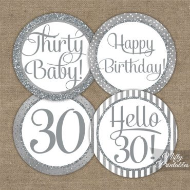 30th Birthday Toppers - Silver Cupcake Toppers