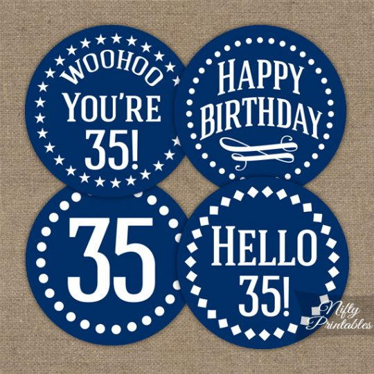 35th Birthday Cupcake Toppers - Navy Blue White Impact