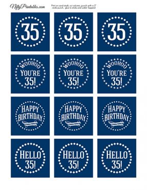 35th Birthday Toppers - Navy Blue Cupcake Toppers