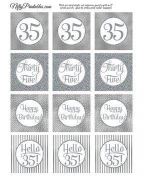 35th Birthday Toppers - Silver Cupcake Toppers