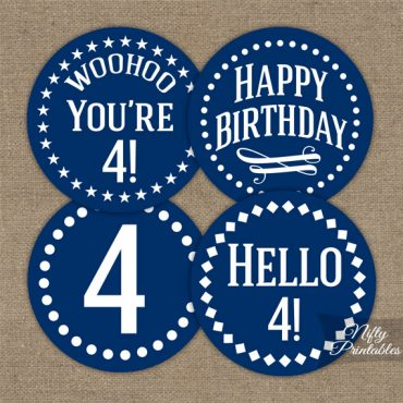 4th Birthday Cupcake Toppers - Navy Blue White Impact