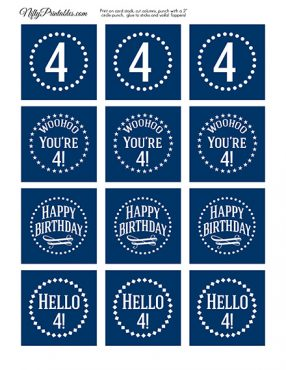 4th Birthday Toppers - Navy Blue Cupcake Toppers