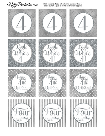 4th Birthday Toppers - Silver Cupcake Toppers