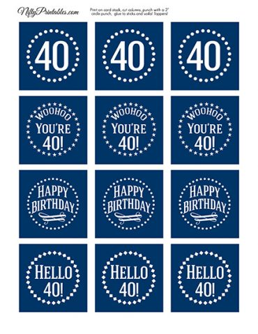 40th Birthday Toppers - Navy Blue Cupcake Toppers