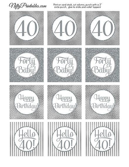 40th Birthday Toppers - Silver Cupcake Toppers