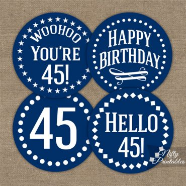 45th Birthday Toppers - Navy Blue Cupcake Toppers