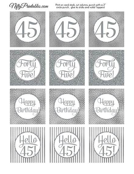 45th Birthday Toppers - Silver Cupcake Toppers