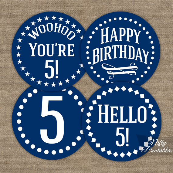 5th Birthday Toppers Navy Blue Cupcake