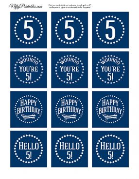 5th Birthday Toppers - Navy Blue Cupcake Toppers