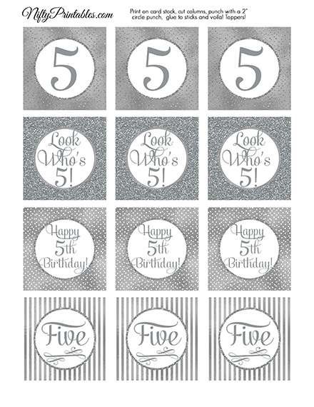 5th Birthday Toppers - Silver Cupcake Toppers