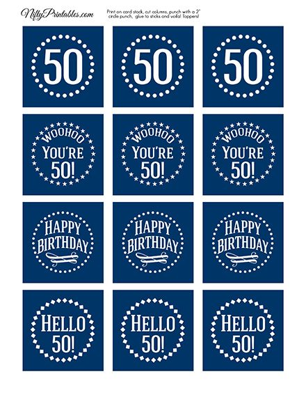 50th Birthday Toppers - Navy Blue Cupcake Toppers