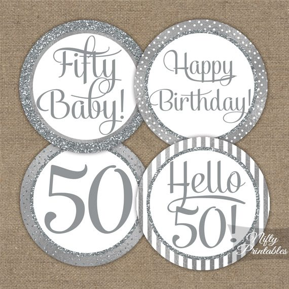 50th Birthday Toppers - Silver Cupcake Toppers