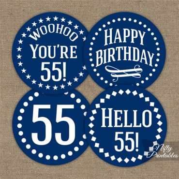 55th Birthday Toppers - Navy Blue Cupcake Toppers